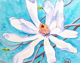 "Star Magnolia Closeup White Flower Original Botanical Painting 10""x10"""