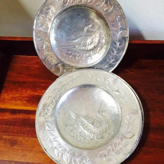 Wall Decor Silver Plates : Farmhouse decor decorative bird plate silver forged aluminum