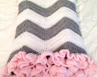 PATTERN - Chevron Blanket with Ruffle - Crochet Baby Blanket