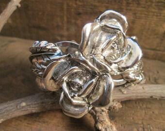 vintage silver tone rose clamper bracelet