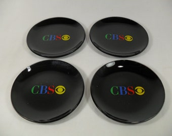 Vintage glass CBS television coasters tv network advertising retro set of 4