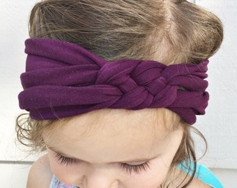 Solid Eggplant sailors knot headband