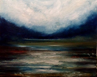 Landscape of Salt Marsh in the Rain Original Oil Painting (60cm x 50cm)