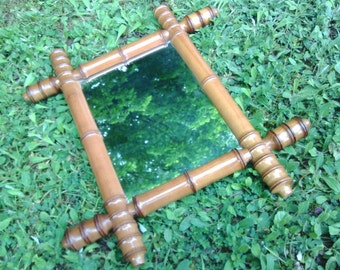 Authentic French Barber Faux Bamboo Mirror Wooden Miroir