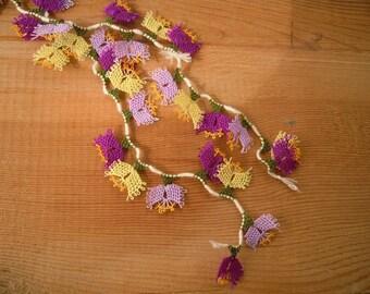 needle lace flowers, turkish oya, 40 pieces, lilac yellow purple