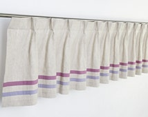 French Pleat Modern Pure Linen Girl Window Valance Curtain with Organic Cotton Stripes. Custom Sizes and Stripe Colors.