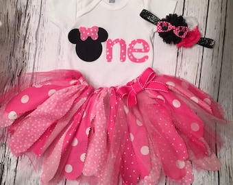 Minnie Mouse Birthday Outfit. Minnie First Birthday Outfit. Minnie Mouse Tutu. Minnie Bodysuit. Minnie Shirt.
