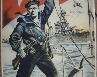 WW2 Russian Soviet RKF Baltic Fleet Navy propaganda poster