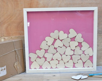 Wedding guest book Drop Box for with hearts in pink background,Alternative guest Book,Shadow Frame,Drop Top Box,Ideas