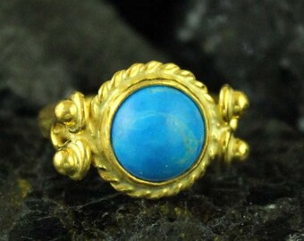 Handmade Hammered Band Ronud Turquoise Ring 22K Gold Over 925K Sterling Silver