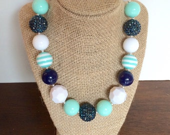 navy and turquoise with chunky bead bubblegum necklace photography prop
