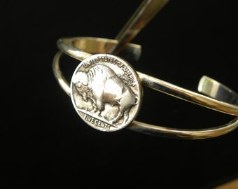 1930 to 1937 Native American Authectic Buffalo Indian Nickel coin handmade soldered cuff bracelet wristband nice for Bills fans