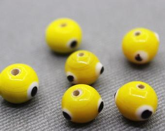 8 Yellow Glass Evil Eye Beads - Protection Beads, Glass Beads, Evil Eye Jewelry, Evil Eye Supplies