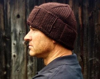Mens brown wool winter hat, gift idea, knit hat, seamans skull cap, mariners hat