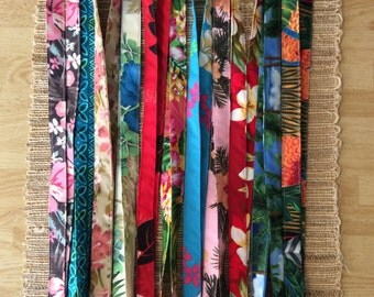 Hawaiian print fabric lanyards