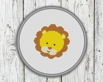 Cute Lion Face Counted Cross Stitch Pattern, Animals Needlepoint Pattern - PDF, Instant Download