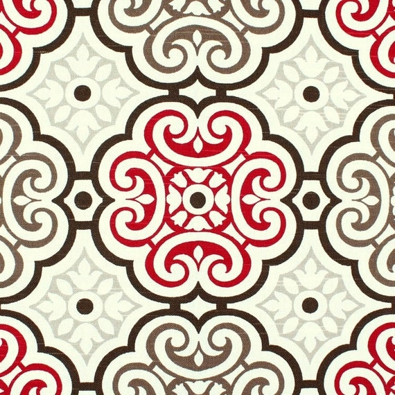 Red Brown & Gray Mosiac Fabric by the Yard Cotton Drapery