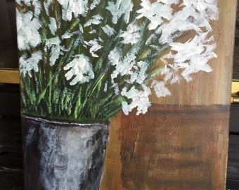 White blooms in tin vase - 12x16 acrylic on canvas