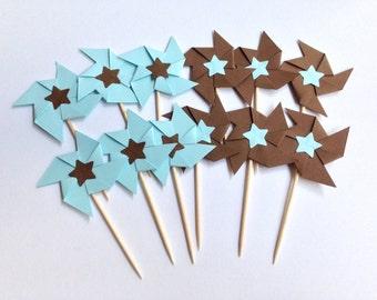 Set of 12 Pinwheel Cupcake Topper-Food Pick