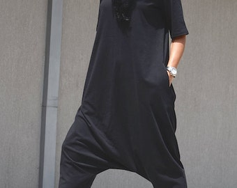 Loose Jumpsuit, black jumpsuits, women harem jumpsuit, asymmetric jumpsuit, ladies jumpsuit, boho jumpsuit, woman black jumpsuit, jumpsuit