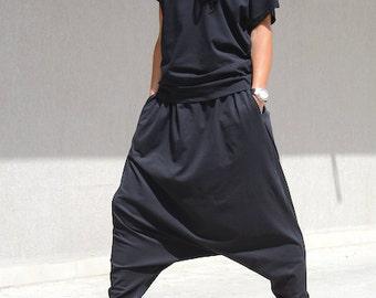 Harem pants, maxi drop crotch, plus size pants, maxi plus size pants, black maxi pant, black plus size pant, harem pants women,