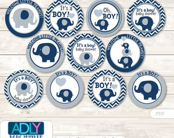 Boy Peanut Cupcake Toppers for Baby Shower Printable DIY, favor tags, circles, It's a Boy, Chevron- oz82bs0