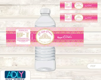 Crown Tiara Baby Shower Water Bottle Wrappers, Labels, - it's a Crown Pink Gold, Royal - oz73bs5