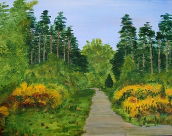 English Landscape, Impressionist, Original ACRYLIC Painting, Thetford Forest, Large Painting, Canvas Board, Ready to Frame, 24 x 18 inches