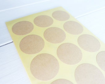 75 Round Kraft Stickers Labels Envelope Seals / Brown Circle Stickers 35mm / 202
