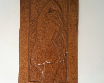 Bathing Nude 2 - Hand Carved Tile