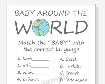 DIY Baby Around The World Printable Cards for a baby shower - Boy - Girl - Gender Neutral