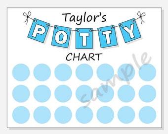 DIY Printable Potty Chart for Boys - Personalized Pennant Design