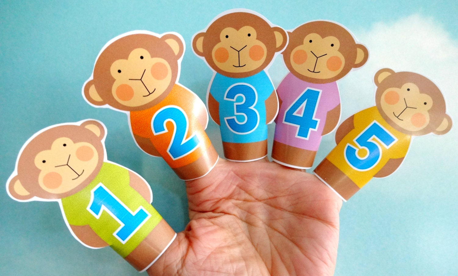Diy printable finger puppets five little monkeys jumping on zoom amipublicfo Image collections