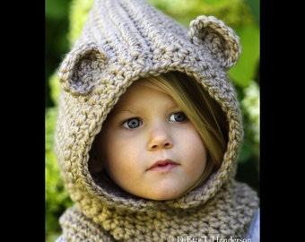 fuzzy Bear Hood; animal hood; Bear hat; Toddler Hood; Child Hood; Toddler hat; bear hat; animal hat; winter hat; warm winter hat