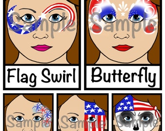 Face Paint  Menu - 4th of July designs