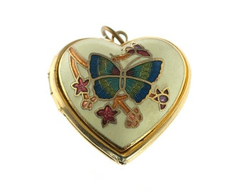 Gold Plated Enamel Butterfly Heart Locket