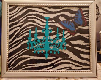 Teal Chandelier Zebra Background with Blue Butterfly Frame