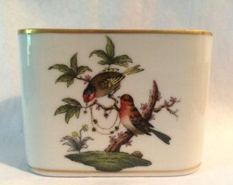 Vintage Herend Vase Match holder Rothschild Bird Pattern