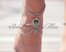 anklet foot jewelry antique silver chain turquoise beads boho bohemian hippie ethno body jewelry A07