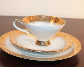 Eberthal Bavaria Three Piece Collectors Set – Cup, Saucer and Dessert Plate – White with Wide Gold Border