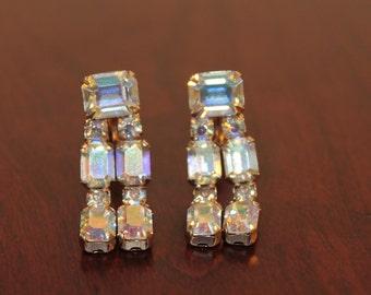 Signed Weiss Aurora Borealis Dangle Earrings – Clip Backs