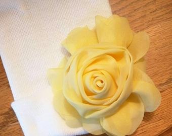 Newborn White Hat! Newborn Hospital Hat. Baby's 1st Keepsake! With Yellow Silk Flower Rose. Perfect for your Baby!