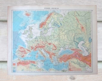 Vintage map - Physical Europe / world trade routes double sided 1920 map. Perfect for framing for home decor, study, office.