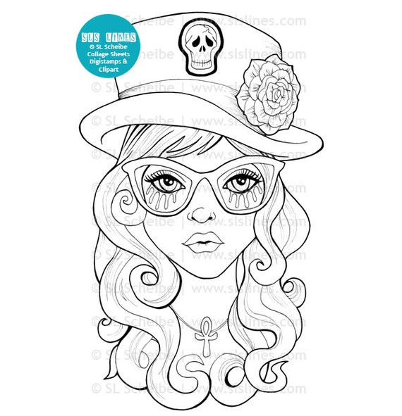 Goth Girls Adult Coloring Book PDF printable adult coloring