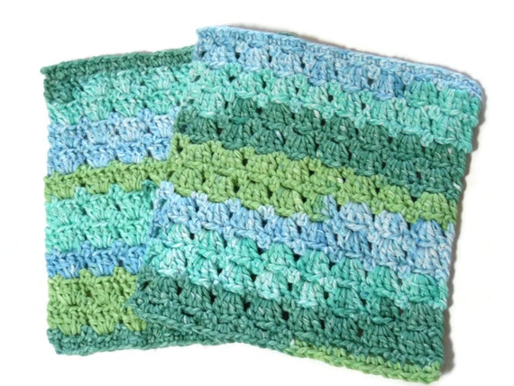 Two Crochet Dish Cloth Dish Rag Wash Cloths Seaside by RignalJane