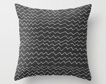 Black Chevron Pillow Cover, zig zag pillow, waves pillow, minimalist pillow, scandinavian pillow, graphic pillow, modern pillow