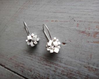 Sterling Silver Cube Cluster Short Drop Earrings // Contemporary Short Drop Earrings //