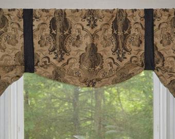 Window Treatment, Tie up Valance, Black, Brown and Tan Window Valance, Formal Window Valance, Swag Look Window valance