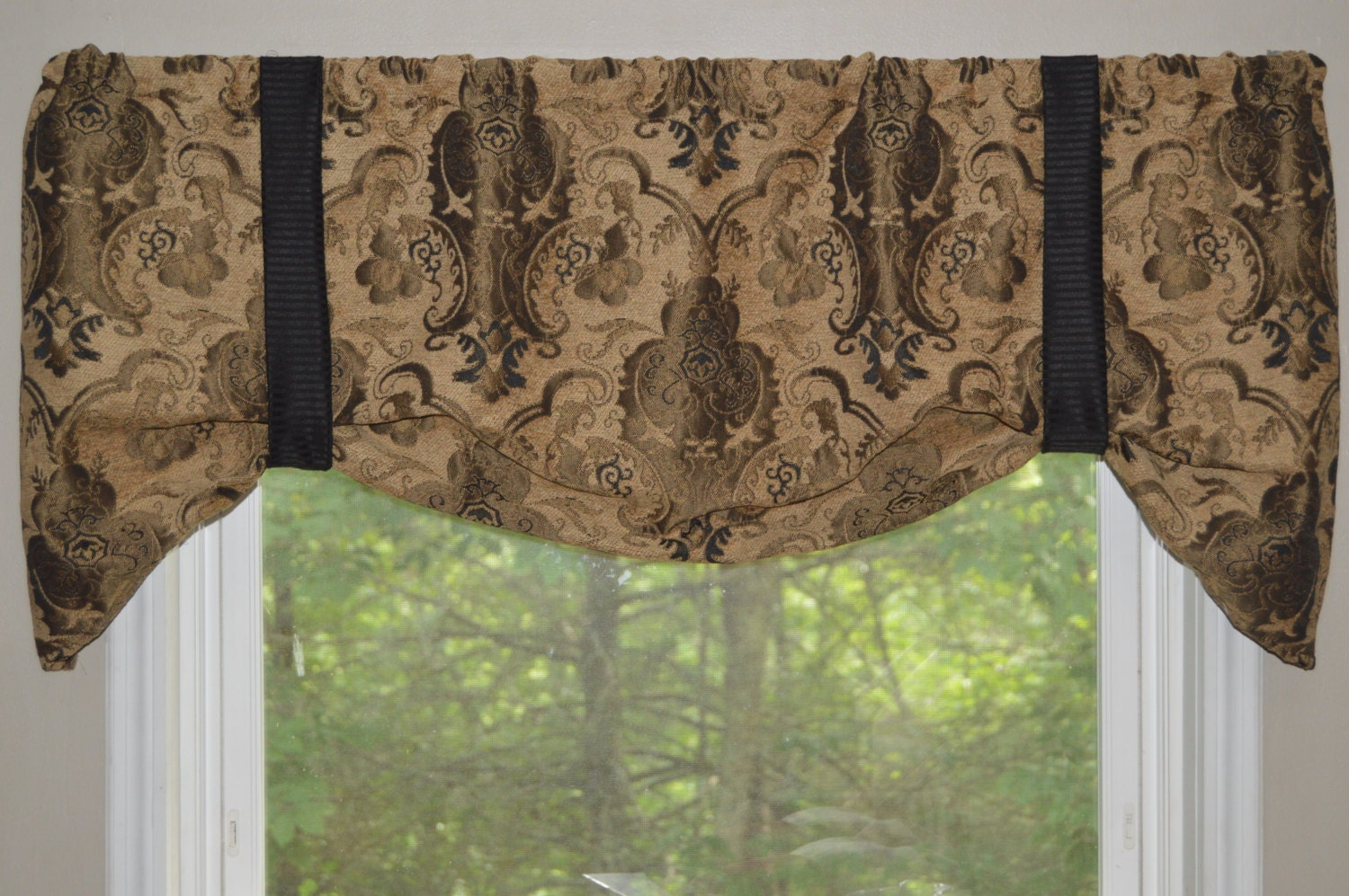 Window Treatment Tie Up Valance Black Brown And Tan Window