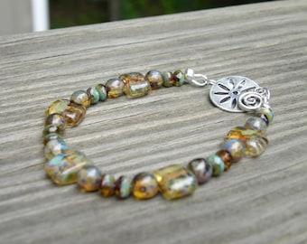 Brown Toned Czech Glass Bracelet